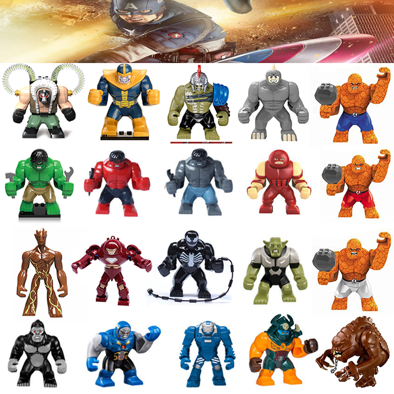 Large Blocks Single Sale Iron Man Red Hulk Groot Thanos legoing Super Heroes Building Bricks Toys Christmas Gift For Children
