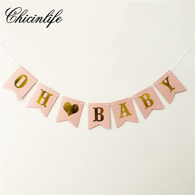 chicinlife 1set oh baby banner baby girl birthday bunting banner