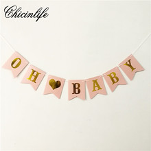Chicinlife 1Set oh baby Banner Baby Girl birthday Bunting Banner party decorations Photo Booth Props Garland baby Shower decor