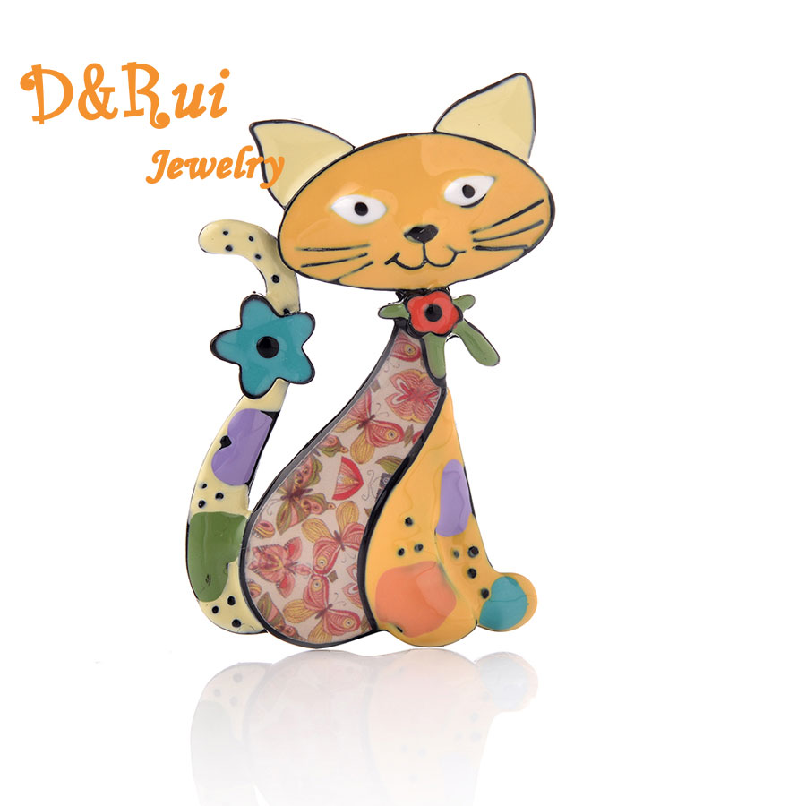 Animal Cat Brooches For Girls Colorful Enamel Women Zinc Alloy Brooch Pins Wedding Party Decorations Fashion Fine Jewllery New