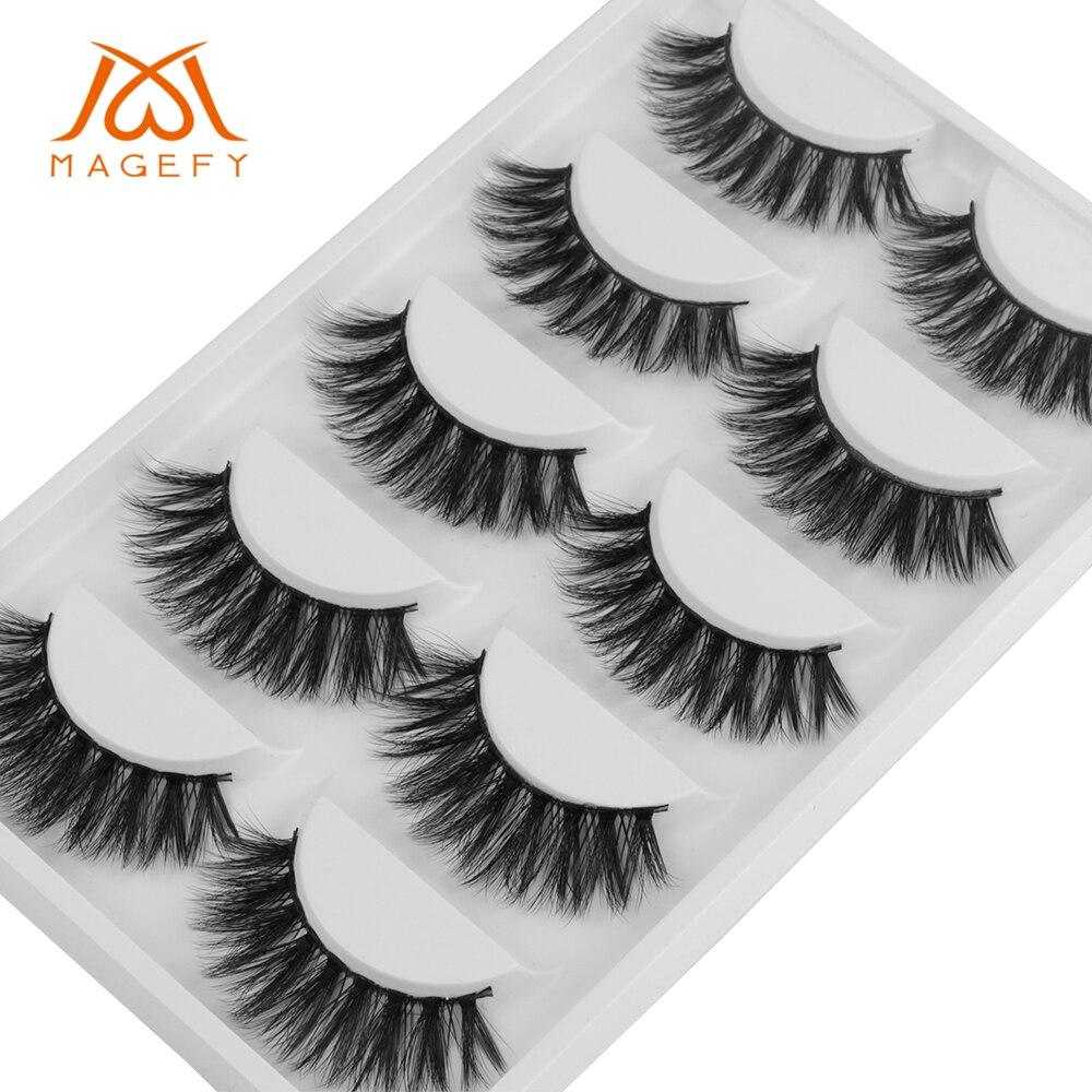Magefy 5 Pairs 3d Volume Lashes Natural Long Lasting Fake Eye Lashes Handmade Thick False Eyelashes Black Makeup Extension Tools Beauty Essentials