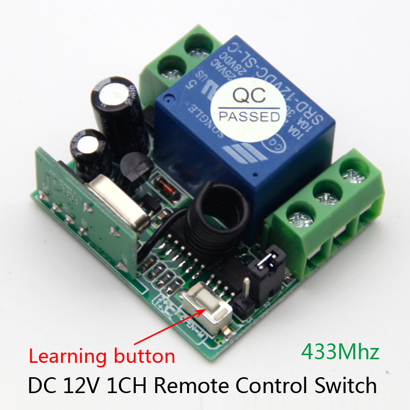 Wireless Remote Control Switch 433 Mhz DC 12V 10A 1CH relay 433Mhz Receiver Module For learning code Transmitter Remote 315mhz wireless relay module switch remote control switch 9v 12v 24v 1ch 10a receiver wall transmitter for light gate motor