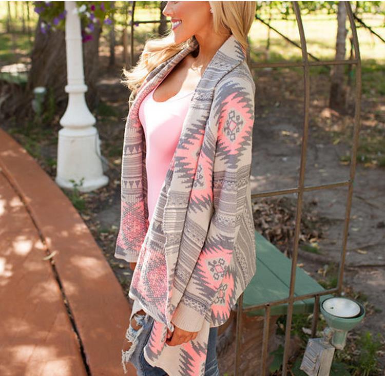 Moda invierno Kimono de punto Cardigan de manga larga Poncho suéteres estampado irregular sexy señora chaquetas calientes Cardigan mujeres Tops