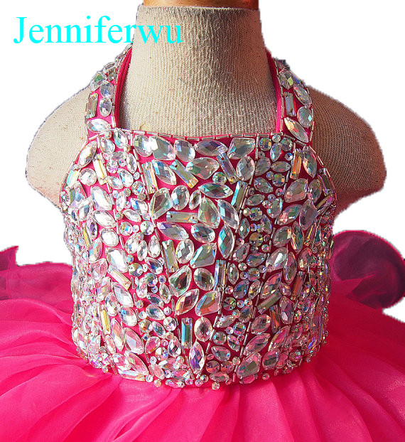 цена heavy stone beaded  halter infant and toddler girl pageant  cupcake dress 1T-6T G109 онлайн в 2017 году