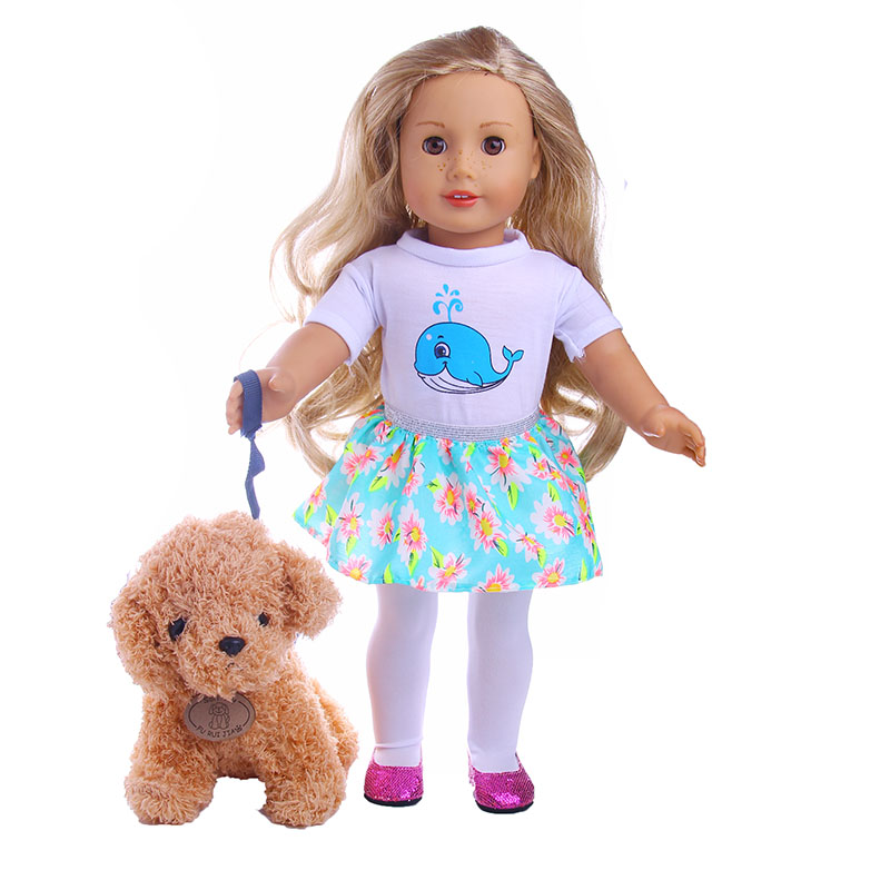 Luckdoll Fluffy Toy Dog Fits 18-Inch American Girl Doll, Kids Best Holiday Gift