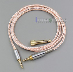 LN005614 3.5mm 6.5mm Male To Male 800 Wires Soft Silver + OCC Alloy AFT Earphone Headphone Cable For SONY MDR-1r MSR7