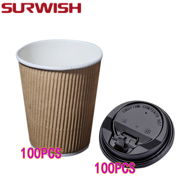 Surwish 100pcs 8oz Disposable Kraft Paper Coffee Cups Milk Tea With Switch Lid Party