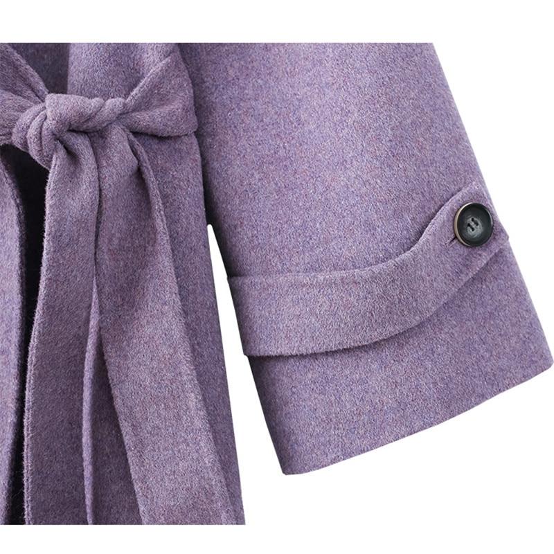 Col 100 Manteaux Femelle Pardessus Manteau Femmes Lâche Dames Laine Bleu pourpre Pour 2018 Grand Automne Coréenne D'hiver Occasionnel zrrqZYv4