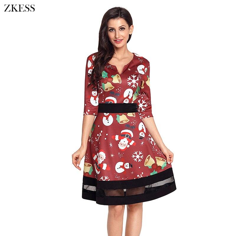 Zkess Women Jolly Christmas Cartoon Print Wine A-line Dress Fashion Cute  Casual V Neck Long Sleeves Skater Dress LC61860 4e6288b01f9b