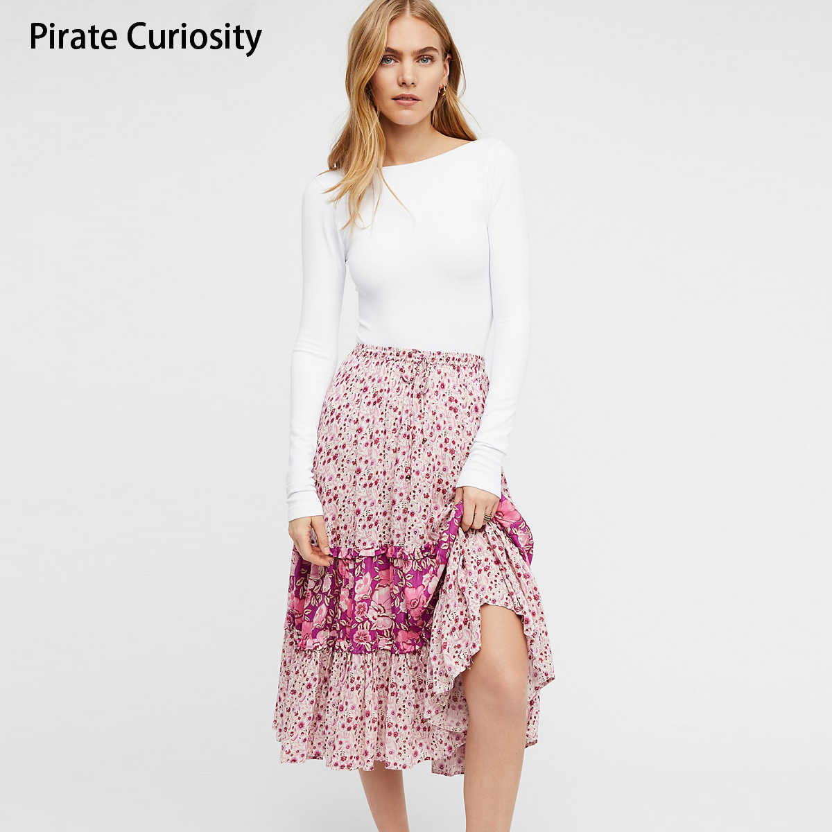 c89be97a0d ... Pirate Curiosity Rayon Winona Colorful Print Floral Skirts For Women  Summer Midi Skirt Vintage Bohemian Beach ...