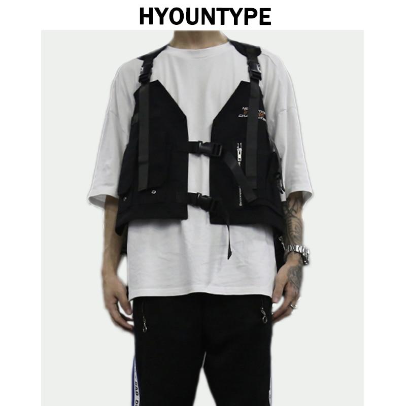 Fashion Hip Hop Sleeveless Vests Men Cargo Waistcoat with Pockets Military Jacket 2018 New Streetwear Tactical Vest Sweatshirts