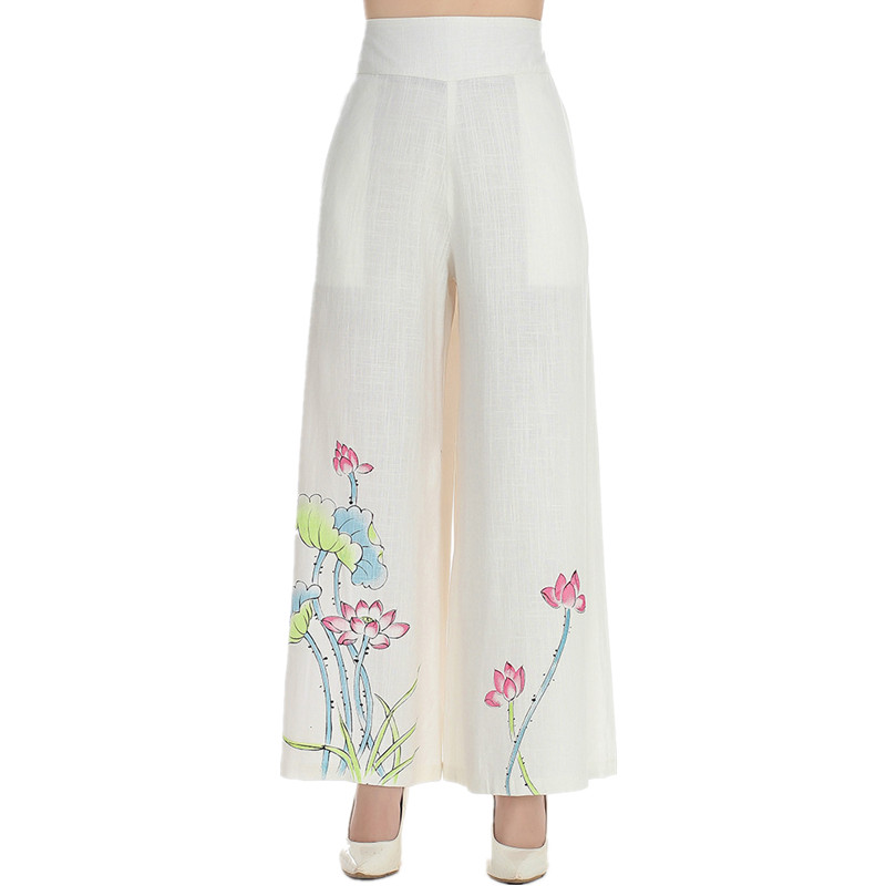 Hot Sale White Chinese Traditional Style Women Elegant Elastic Band   Capris   Print Peony Wide-legged   pants   Size M L XL XXL