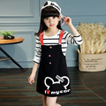 2Pcs Cartoon Mouse Ladies Baby Girls Clothes Sets Spring Kids Striprd Long Sleeve Shirts+Overalls Dress Brand Girls Dresses