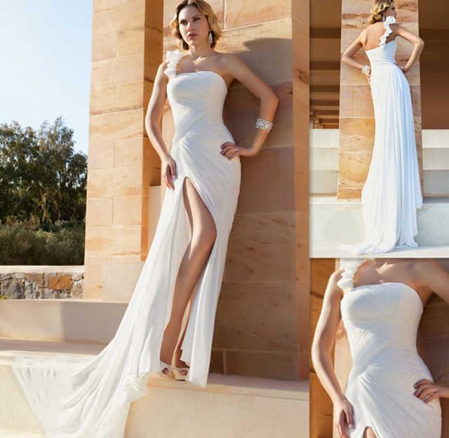 Wholesale One Shoulder Wedding Dress Patterns White Chiffon Sheath ...