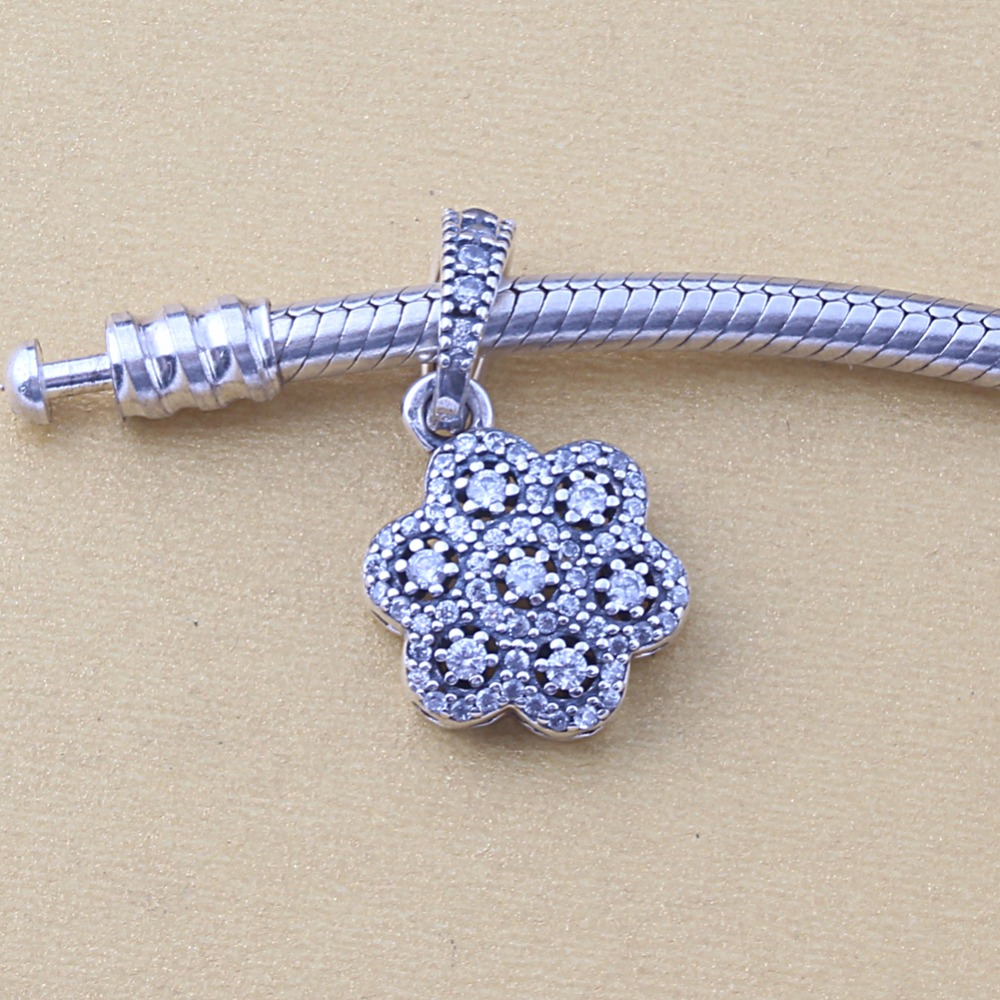 ZMZY Original 925 Sterling Silver Charm Floral Daisy Lace Silver Pendants Beads For Pandora Charms Bracelets Accessories