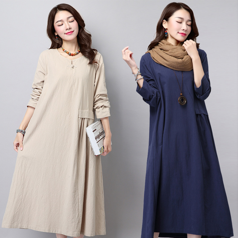 New 2017 Autumn Cotton Linen Women Dress Long Sleeve O-Neck Vintage Casual Loose Pregnant Woman Dresses Vestidos CE339
