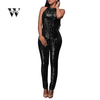 2018 Summer Fashion Sequins Womens Sexy Sleeveless O Neck Jumpsuits Ladies Backless Romper Jumpsuit Amazing Jan