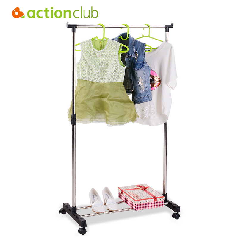 Actionclub Stainless Steel Single Rod Drying Rack Folding Lifting Drying Rack Floor Standing Clothes Hanging Storage Racks