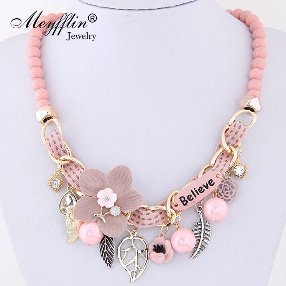 Meyfflin Flower Statement Necklaces 2017 Vintage Resin Beadss