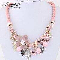 Meyfflin fleur colliers déclaration 2019 Vintage perles en résine couleur bonbon colliers ras du cou bijoux de mode pour les femmes Collier