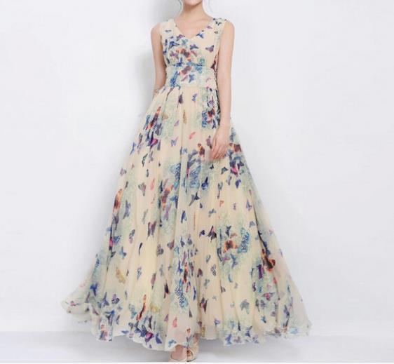 summer dress women new Big size XXXL maxi butterfly Print long dress woman Vestido Long print Chiffon Bohemian Beach dresses