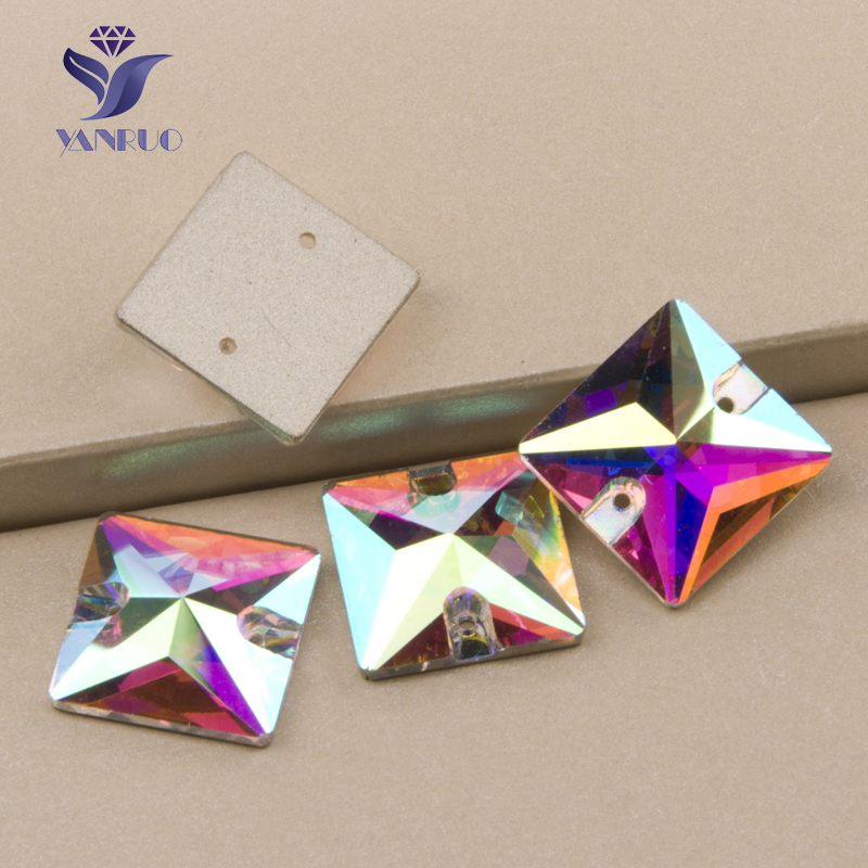 YANRUO #3240 All Sizes AB Excellent Quality Sew On Stones Crystal Strass Square Rhinestone Flatback For Garment Jewelry