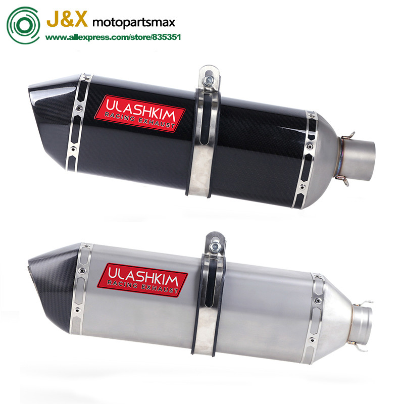 51mm Real Carbon Fiber Universal Motorcycle Exhaust Pipe Muffler Escape Slip-On Pipe with DB-KILLER For Most Motorcycle