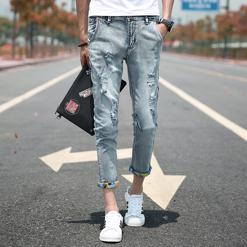 Mens holes do old washed nine pants Korean summer youth beggar pants jeans tide