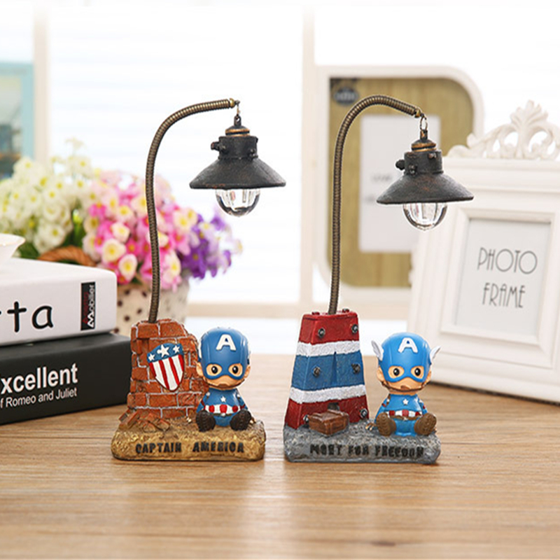 Cute Cartoon Small Man Captain America Resin Lamp Night Light Figurine Craft Home Desk Table Decoration Decor For Kids Gift