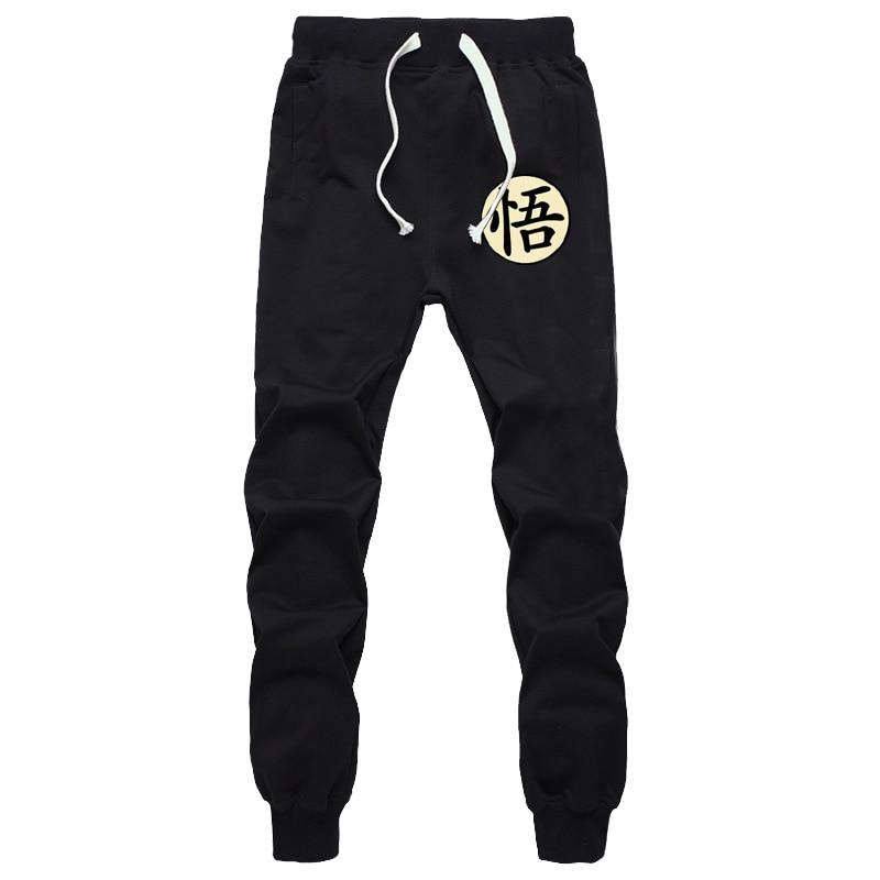 Calças Dos Homens do Algodão ocasional Engraçado Imprimir Dragon Ball Goku Outono Inverno Homens Cinzentos Corredores Sweatpants Plus Size Preto Calças pantalon