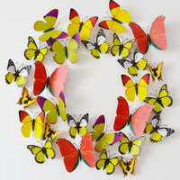Yellow Design Decal Wall Sticker Home Decor Room Decorations 3D Butterfly