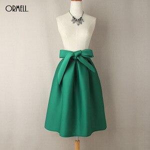 Image 3 - ORMELL Elegant Vintage Women Skirt High Waist Pleated Long Midi Skirt A Line Big Bow Red Black Green Side Zipper Skater Skirts