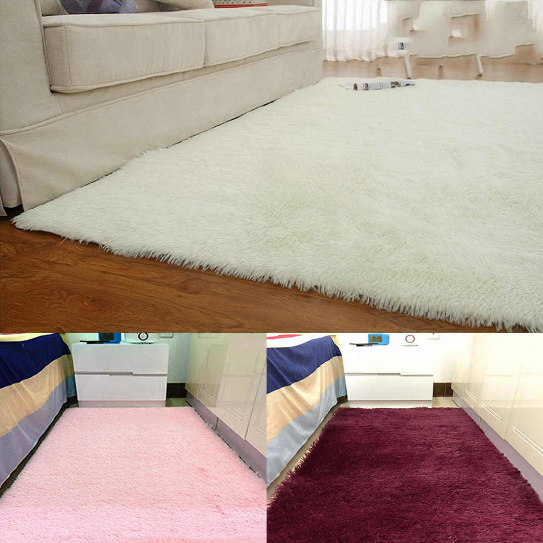 Living Room European Home Warm Plush Floor Rugs Fluffy Mats