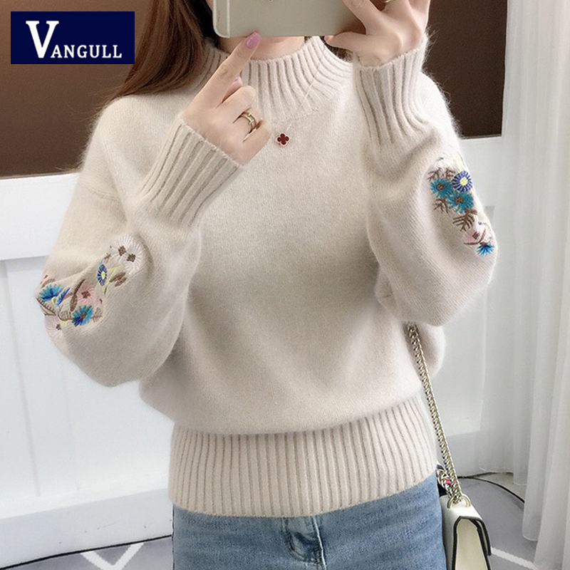 Vangull Women Knitted Sweater Floral Embroidery Thick Sweater Pullovers 2019 Autumn Winter New Long Sleeve Turtleneck Sweaters