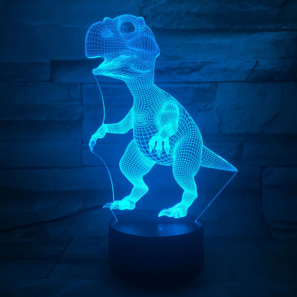 LED Tyrannosaurus Rex 3D Night Light 7 Colors Changing Lamp USB Acrylic optic lights decor Nights lamps kids gift for baby child