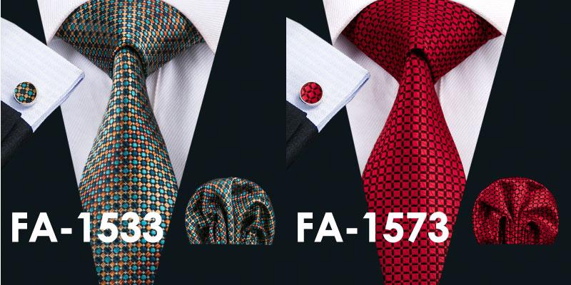 Men`s Novelty Silk Jacquard Woven Necktie Handkerchief Cufflink Set