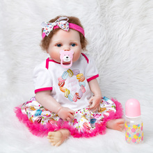 Christmas Gifts 55cm Realistic Soft Silicone Vinyl Reborn Baby Doll Toy Girl Boys Newborn Dolls For Children Bottle+Nipple keiumi real 22 inch newborn baby doll cloth body realistic lovely baby doll toy for children s day kid christmas xmas gifts
