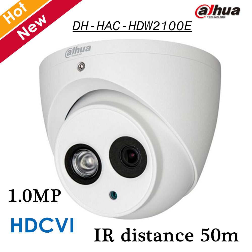 Dahua HDCVI Camera DH-HAC-HDW2100E 1.0MP HD 720p Security CMOS IR Night Vision Waterproof Outdoor cctv Dome Camera HAC-HDW2100E dahua hdcvi 1080p bullet camera 1 2 72megapixel cmos 1080p ir 80m ip67 hac hfw1200d security camera dh hac hfw1200d camera