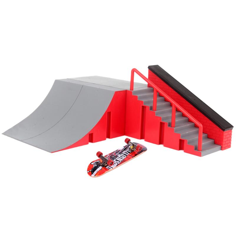Mini Alloy Finger Skating Board Table Game Plastic Main Site Skateboard Ramp Track Toy Set for Kids DIY Children Gift