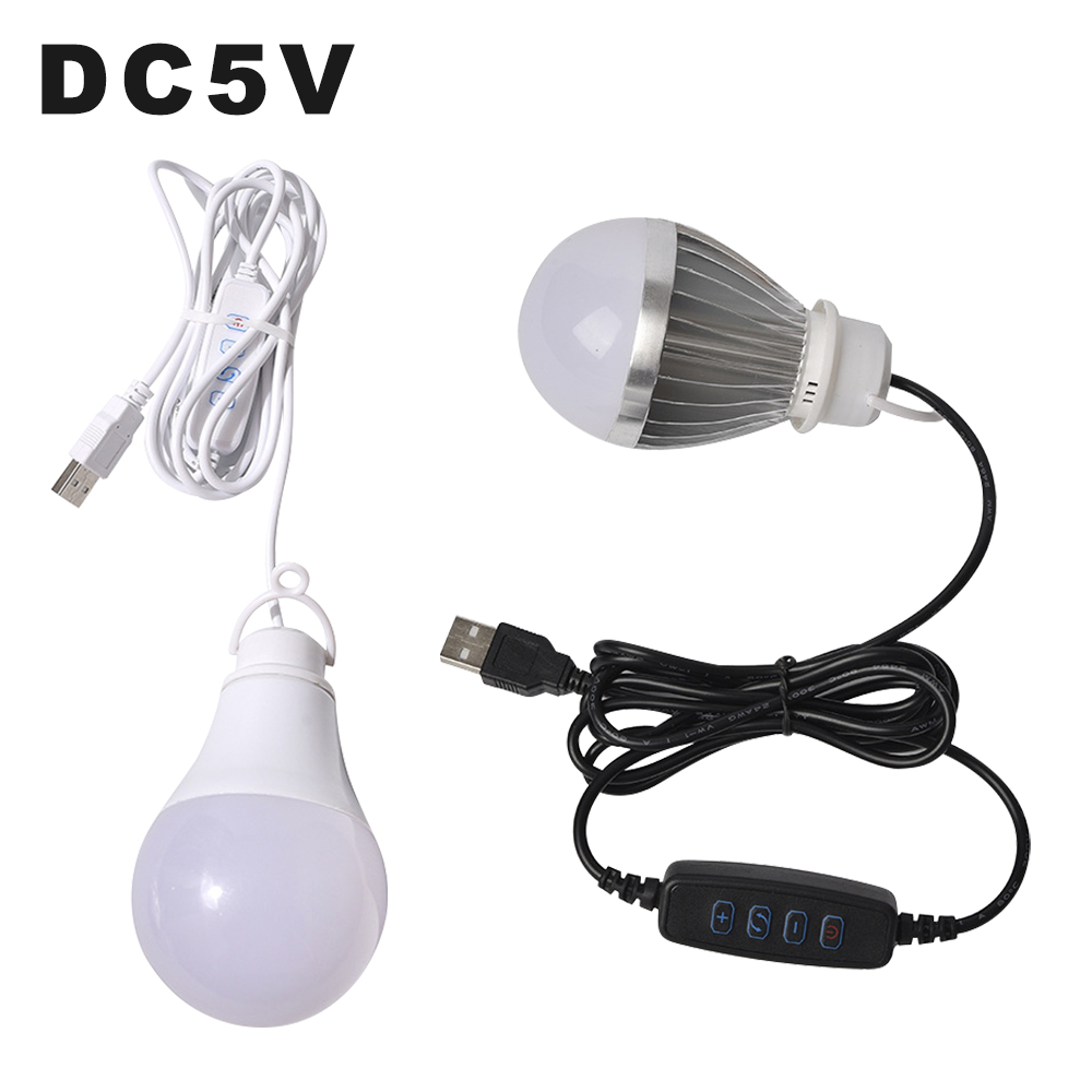 DC5V LED Light Bulb Stepless Dimming With ON/OFF Switch 10W USB Dimmable Hanging Lamp Emergency LED Bulbs For Nightwork Camping
