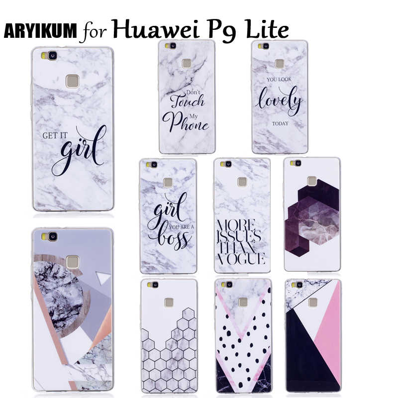 ARYIKUM Soft Silicone Case For Huawei P9 P 9 Lite P9Lite Case Marble Phone Accessories Cover For Hauwei Hawei Huawai P9 Lite