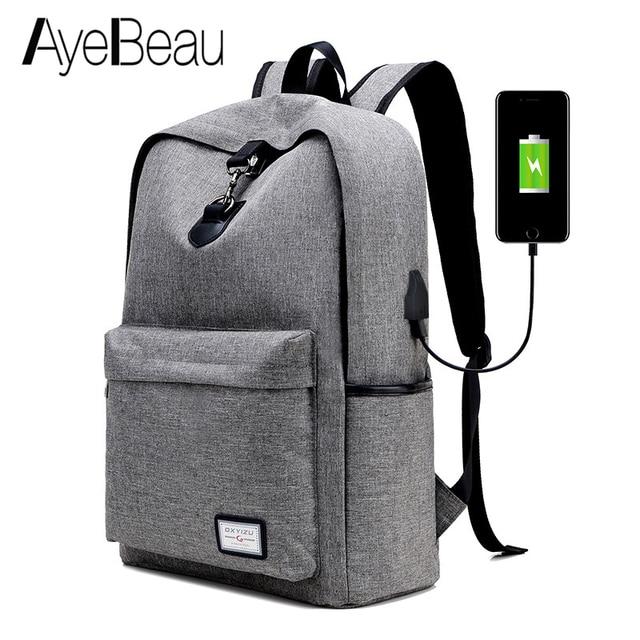 Portfolio School Bag Travel Laptop USB Backpack Male Men With Charging  Notebook For Teenager Schoolbag Bagpack Back Pack Backbag 87aaae6d5ce79