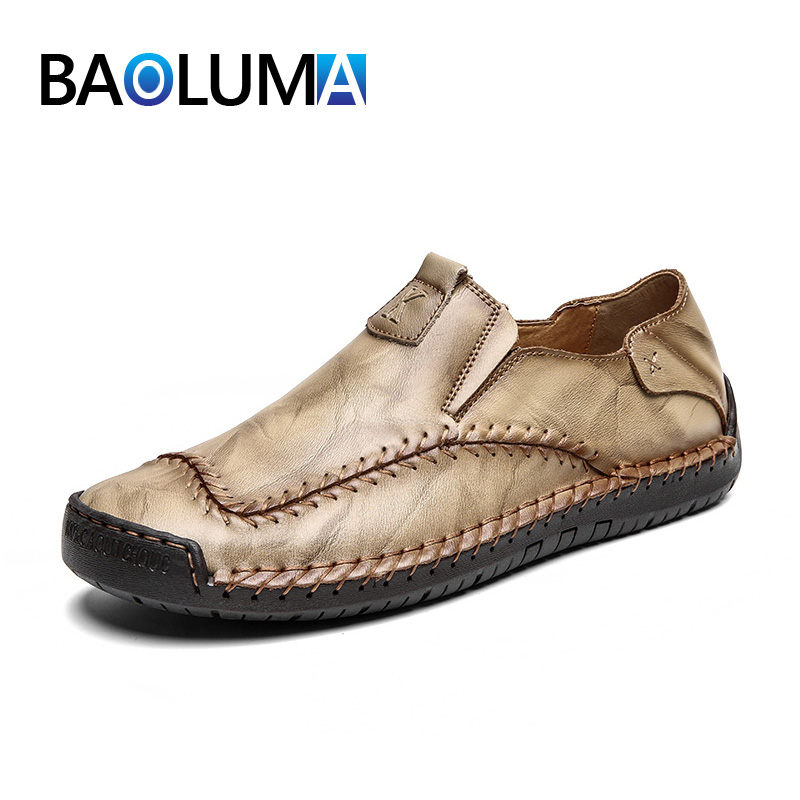 Men Genuine Leather Shoes Fashion Handmade Soft Loafers Breathable Moccasins Shoes Casual Flats Men's Driving Classic Man Shoes