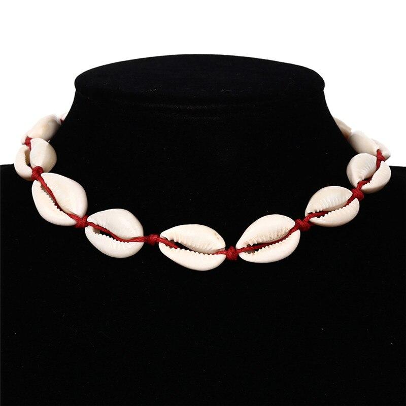 Women Natural Sea Shell Boho Jewellery Necklace Girls Simple Shell Kolye Chocker