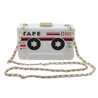 European and American fashion acrylic tape type dinner hand bag single shoulder diagonal ladies bag personality retro radio bag