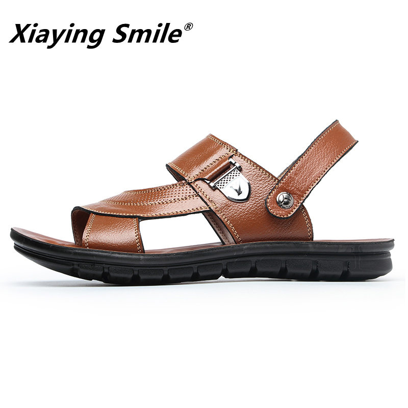 1b6a0bb1b444d ... Women High  Sandals Men Leather Genuine New Summer Split Fashion  Vintage Flat Solid Beach Shoes For Men Breathable ...