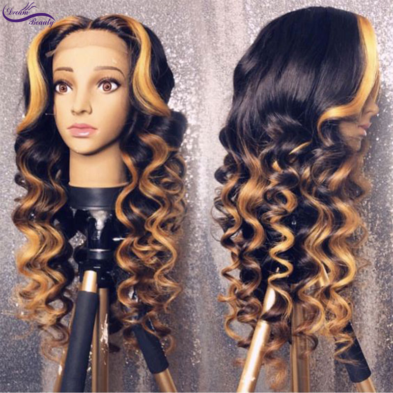 Dream Beauty Highlights color curly Remy Brazilian Full Lace front Human Hair Wigs Pre Plucked Natural Hairline wigs(China)