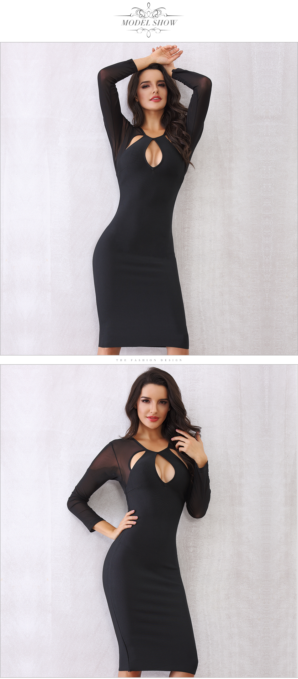 Black Red Blue O Neck Long Sleeve Bandage Dress