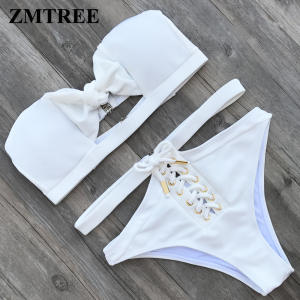 ZMTREE Women High Waist Swimwear White Bikini Swimsuit 2018 Bottom Lace Up Bikini