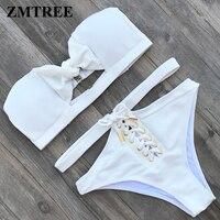 ZMTREE 2018 New Bikini White Swimsuit Women High Waist Swimwear Bottom Lace Up Bikini Set Bandeau